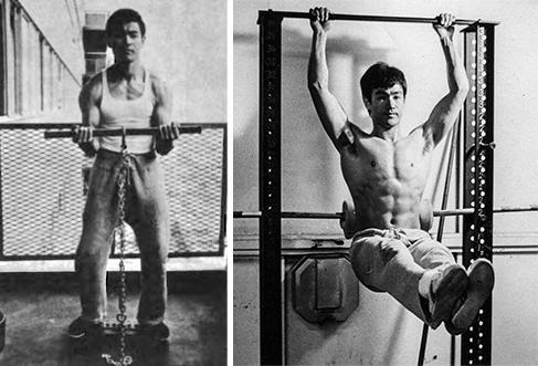 Bruce Lee lors de son entraînement personnel sur l'isométrie